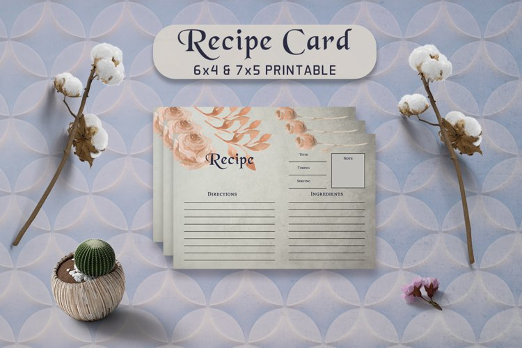 Brown Floral Recipe Card Template example image 1