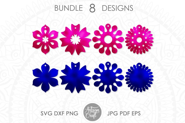 Earring template SVG, sunflower SVG, earrings SVG example image 1