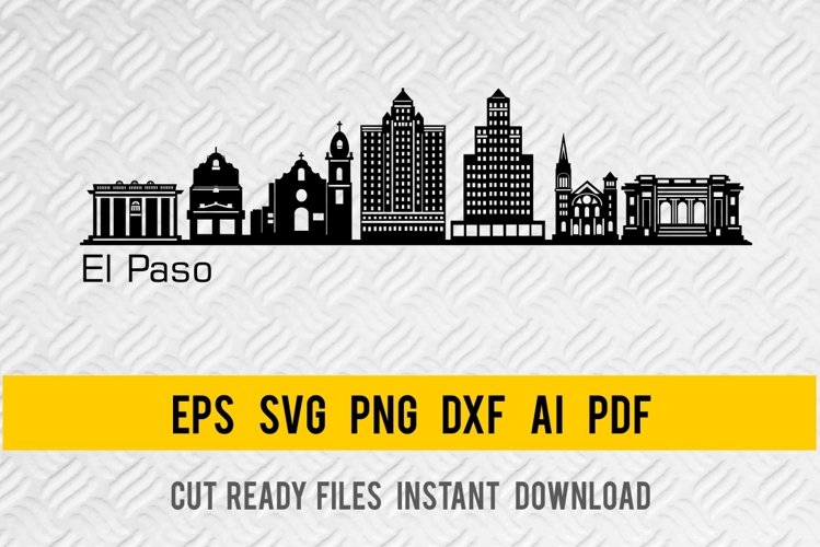 El Paso City Skyline SVG, State of Texas, Cut File example image 1