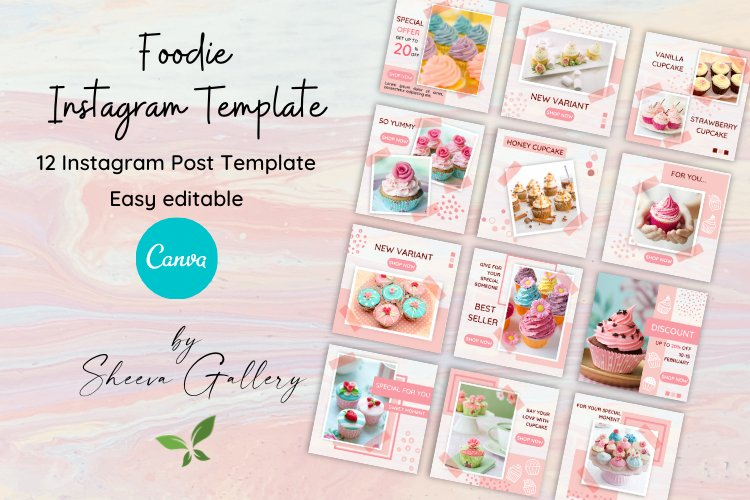 Foodie Instagram Post Template for Canva | Business Kit