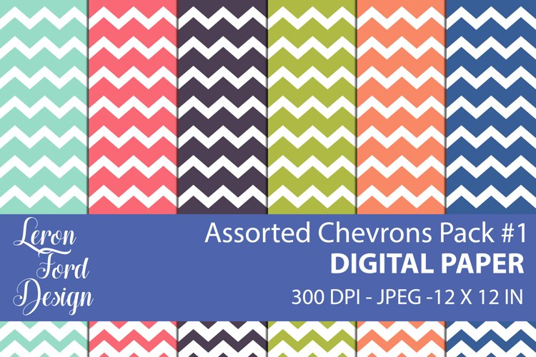 Assorted Chevrons Pack #1 Digital Paper example image 1