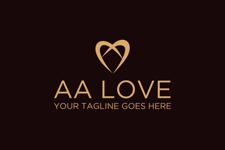 Letter A Letter AA Love Logo example image 1