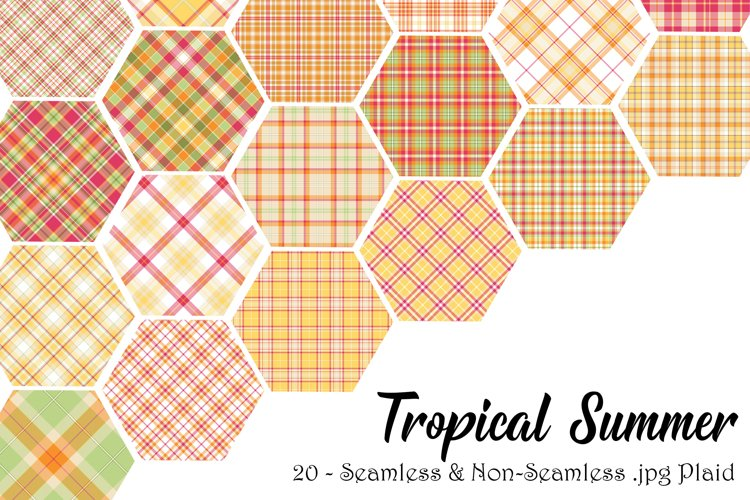 Tropical Summer Seamless & Non Seamless Plaid Backgrounds example image 1