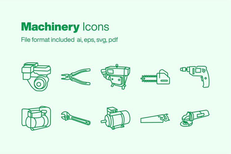 Machinery 10 Icons example image 1