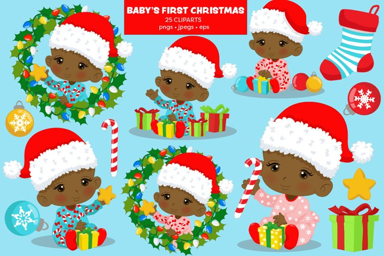 BABY'S FIRST CHRISTMAS CLIPART - AFRICAN AMERICAN BABY example image 1