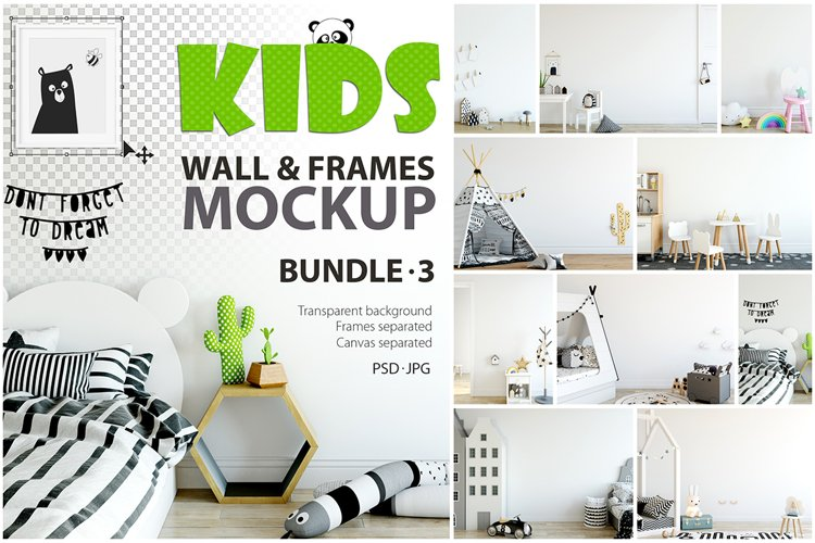 KIDS WALL & FRAMES Mockup Bundle - 3 example image 1