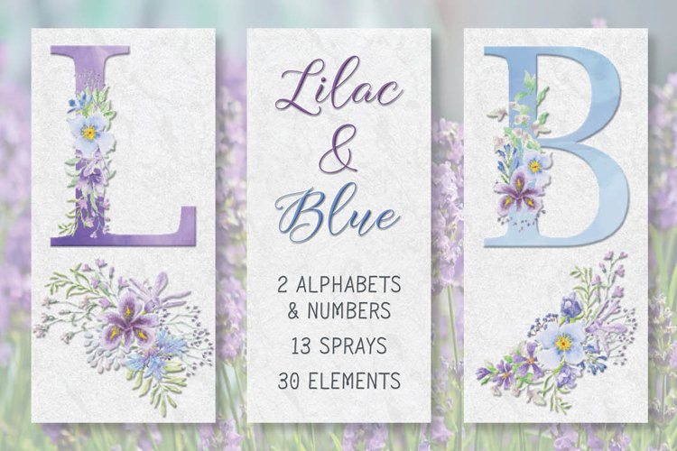 Lilac and blue watercolor floral alphabets