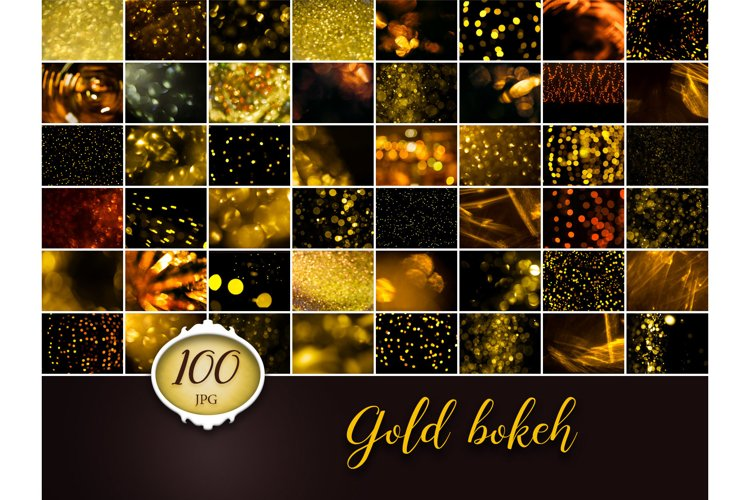 100 Gold Bokeh Photo Overlays