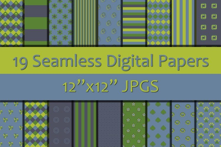 Shades of Blue/Green 1 Digital Papers, Seamless Backgrounds example image 1