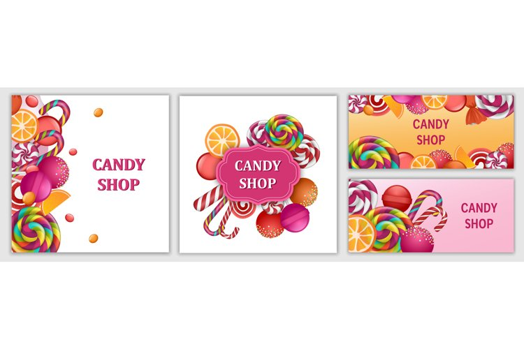 Happy sweet candy day banner set, realistic style example image 1