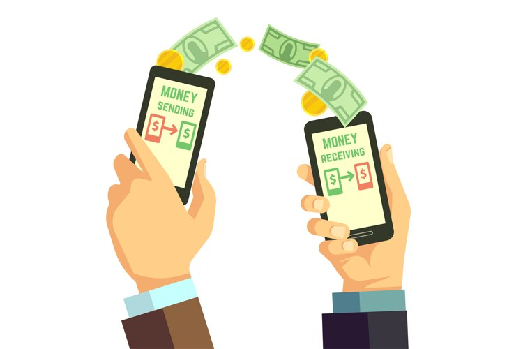 Wireless sending money with smartphone vector banking concep example image 1