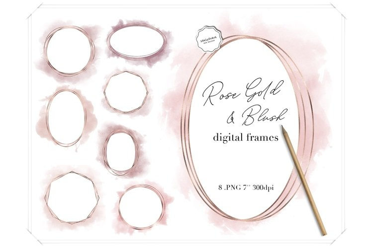 Rose Gold and Blush Pink Watercolor Polygonal Circle Frames