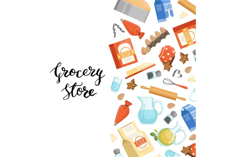 Vector cartoon cooking ingridients or groceries background i example image 1