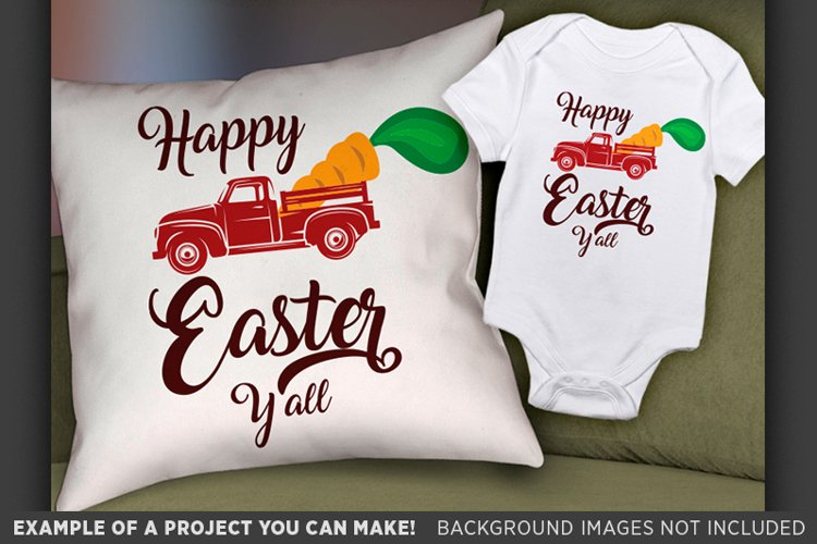 Happy Easter Yall SVG - Easter Red Truck SVG - Easter 4001 example image 1