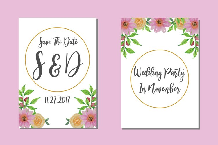 Flower Watercolor Wedding Invitations Card SVG Designs example image 1