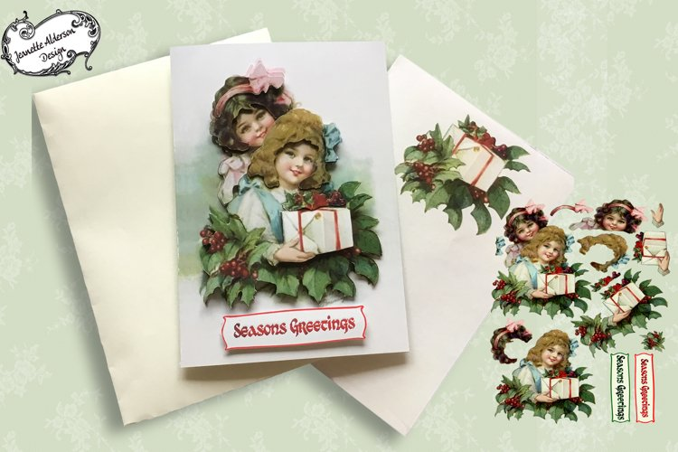 Two vintage girls Christmas Card example image 1
