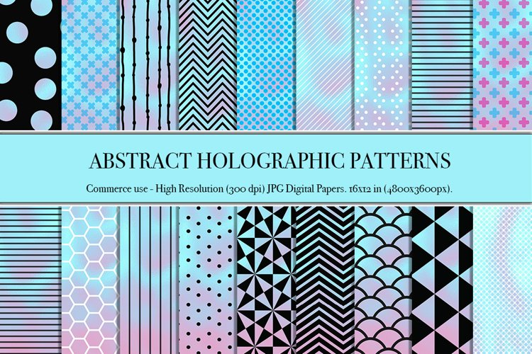 Abstract geometric pattern on holographic background vectors