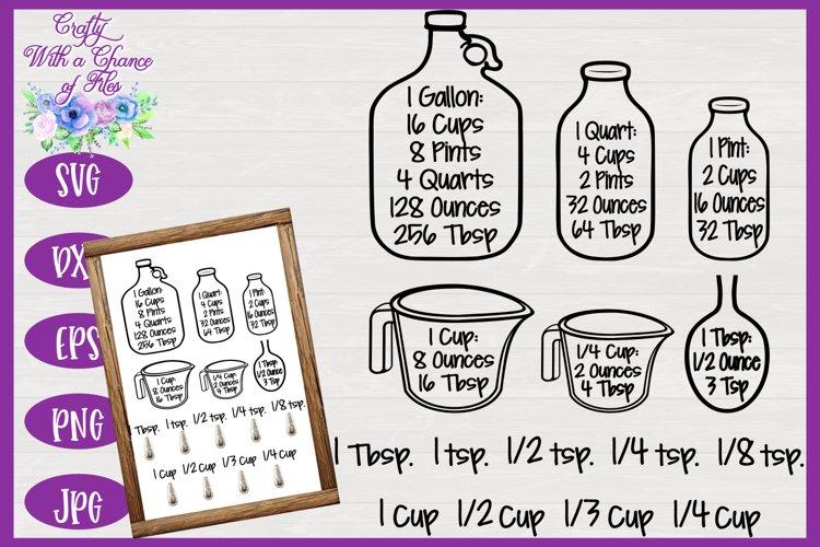 Kitchen SVG, Conversion Chart SVG, Baking Equivalents SVG
