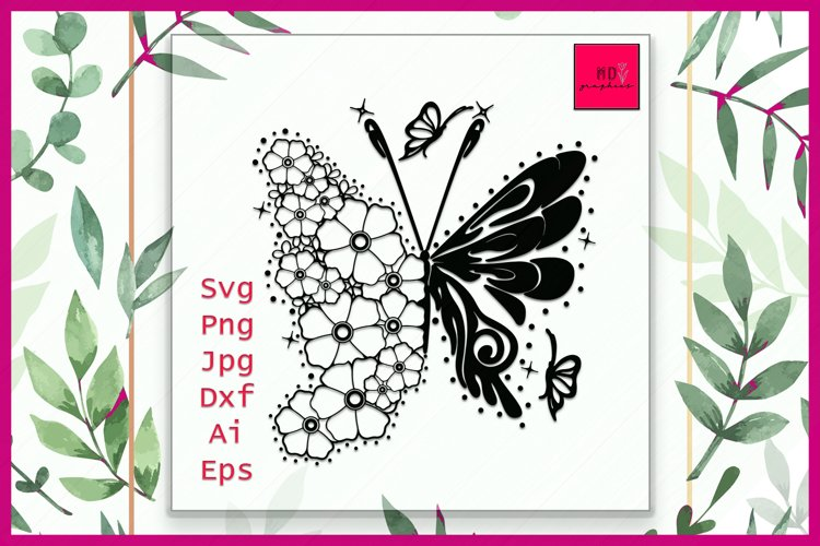 Butterfly SVG File, Floral Butterfly svg, Butterfly Flowers example image 1