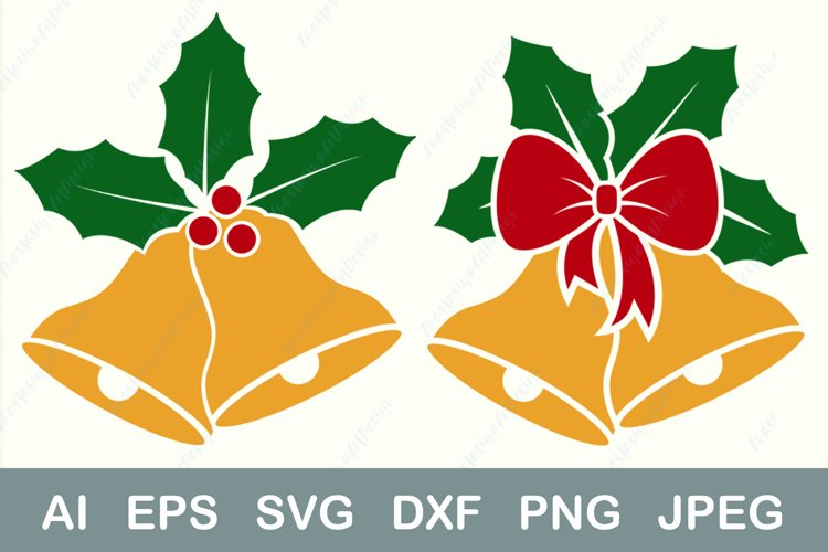 Christmas bell svg, Holly berry and bow dxf, Holiday dxf example image 1