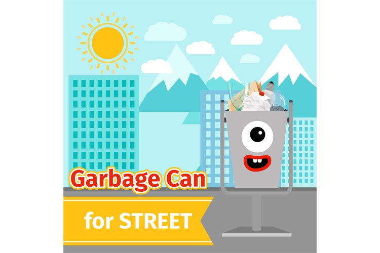 Monster face garbage can with street trash example image 1