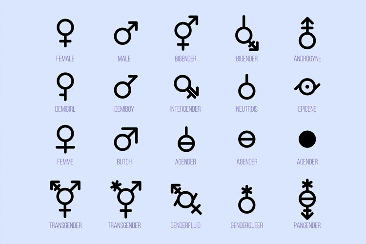 Gender Diversity Monochrome Icons Set