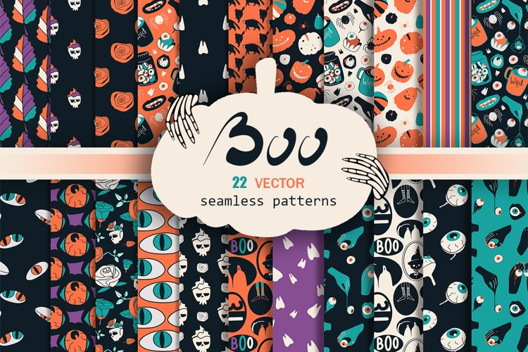 Vector set of patterns for Halloween.