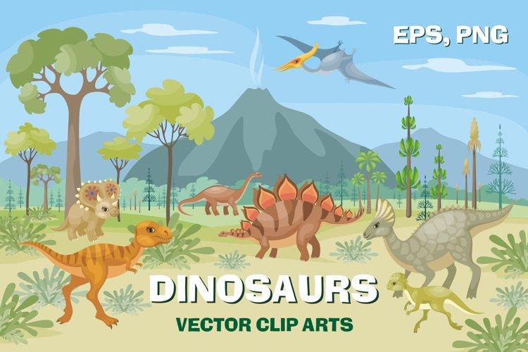 Dinosaurs. Vector clip arts. example image 1