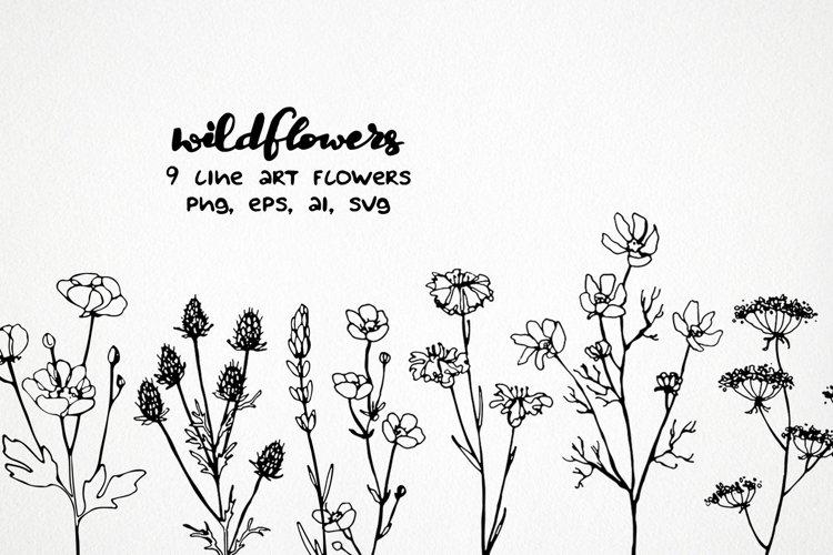 wildflower svg line art clipart flower png outline floral