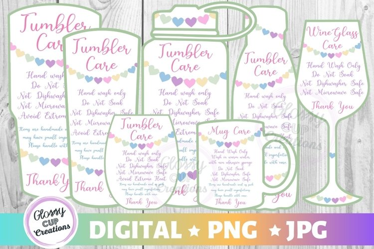Tumbler Mug Wine Glass Care Cards 7 PACK! Hearts! PNG - JPG example image 1