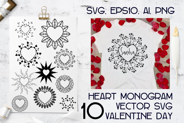 Monograms Vector Hearts Frame bundle SVG, cutting files. example image 1