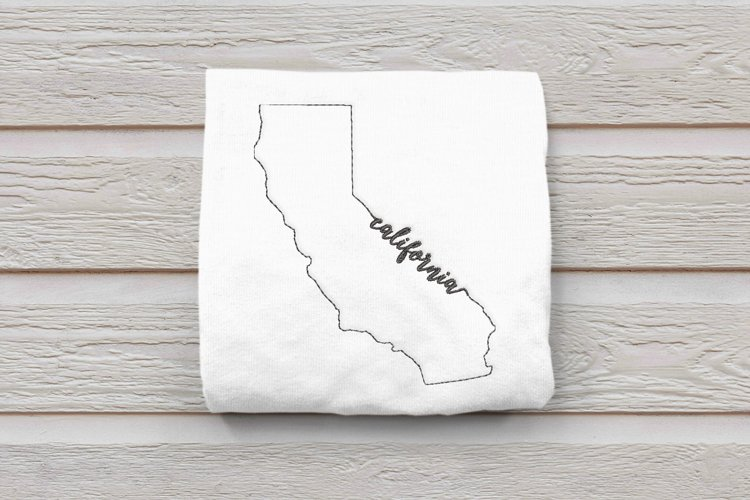 Linework State of California Embroidery Design
