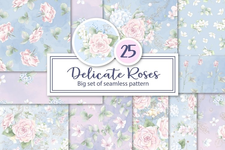 Delicate roses flowers. Set of seamless patterns digital