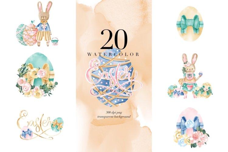 Watercolor Easter elements, Bunny Eggs, transparent PNG