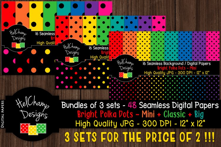 48 seamless Digital Papers - Dots Brights serie - DB005