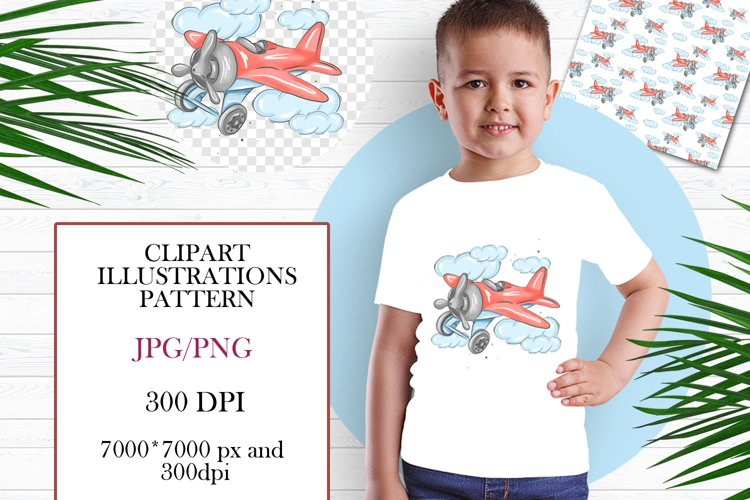 Plane toy, Airplane with clouds clipart