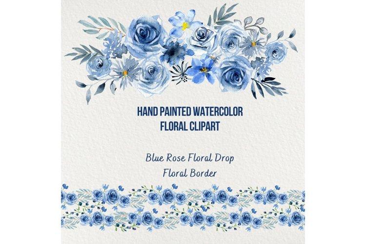 Blue Rose Watercolor Floral Clipart, Navy Blue Rose Bouquet