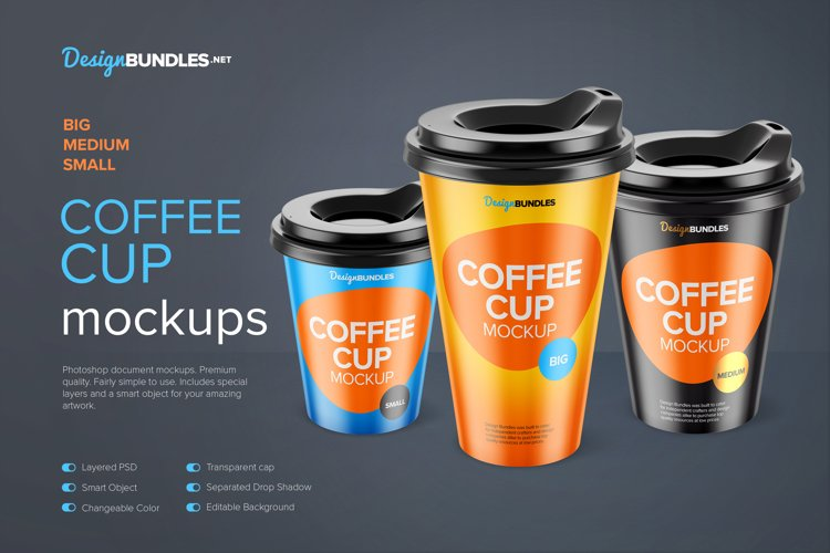 Three Coffee Cup PSD Mockups