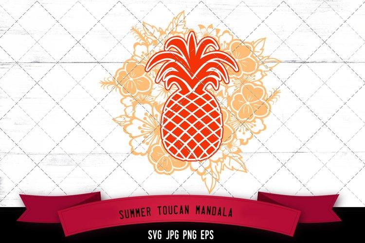 Pineapple Floral Mandala SVG Cut File example image 1