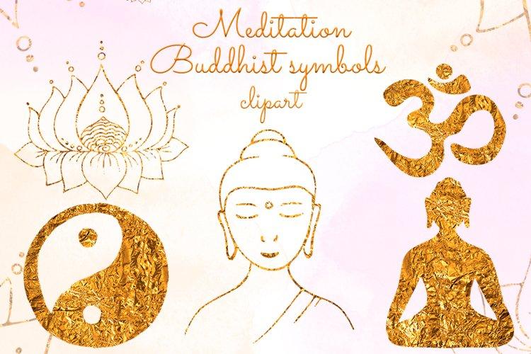 Yoga clipart Gold Buddha Lotus Om symbol Yin Yang Meditation example image 1