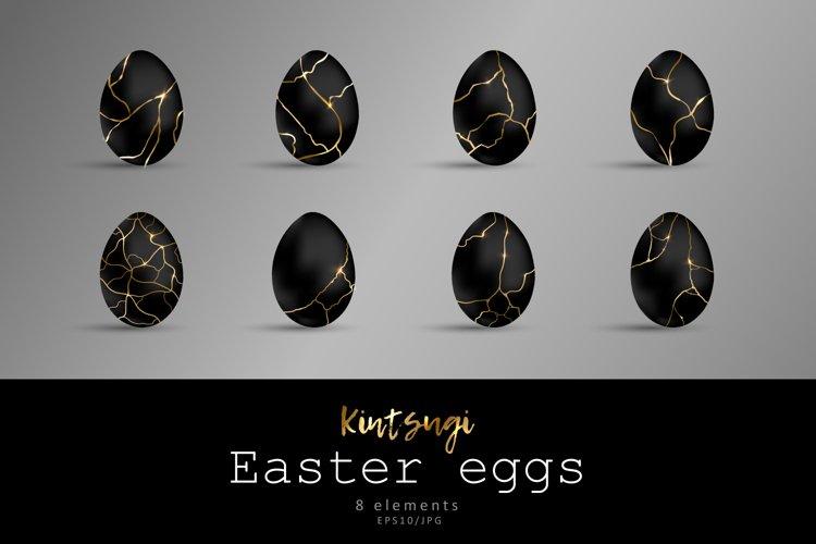 Easter black eggs. Kintsugi effect example image 1