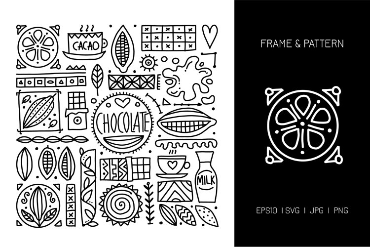 Chocolate. Decor frame 2 colors black and white