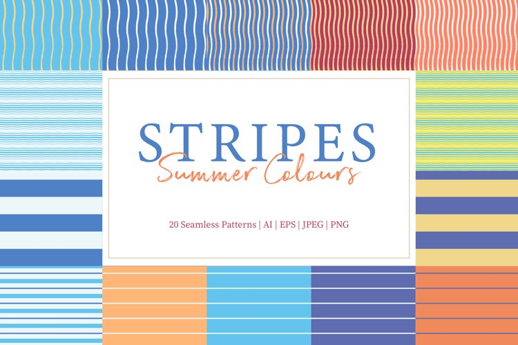 20 Stripes Summer Colours Seamless Pattern