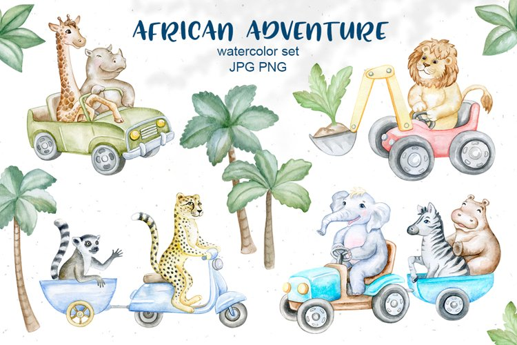 African animals in cars example image 1