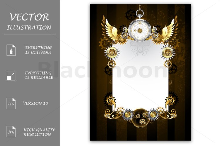 Design with Silver Clock ( Steampunk ) example image 1