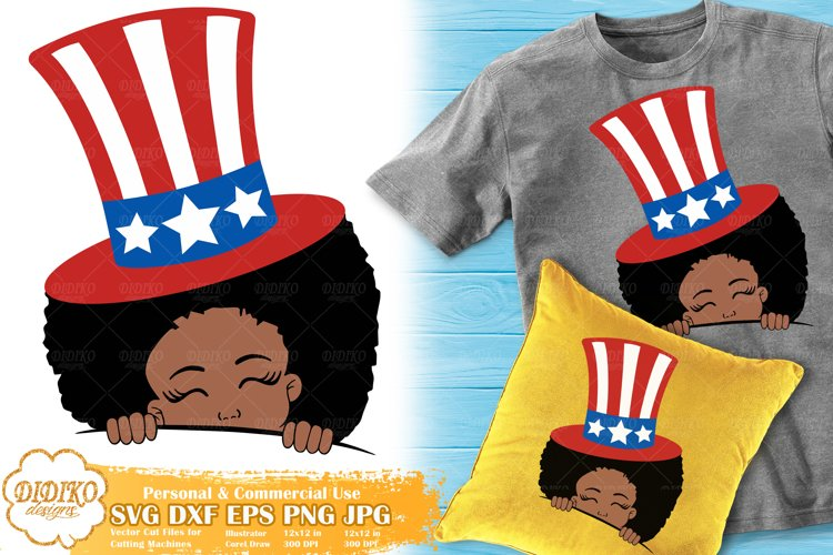 4th of July Black Girl SVG   Afro Girl Peek a Boo   USA SVG example image 1