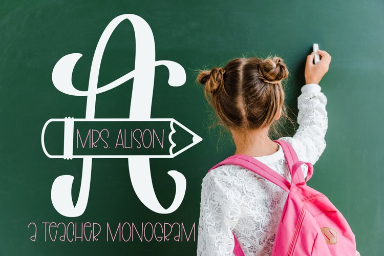 Teacher Pencil Monogram Split Font example image 1