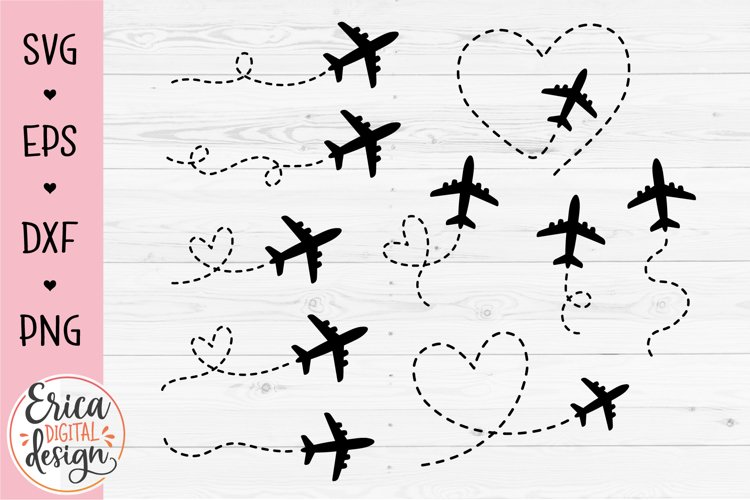 Airplane Bundle SVG Plane route heart path Travel Vacation