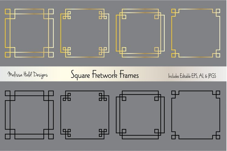 Silver   Gold Square Fretwork Frames