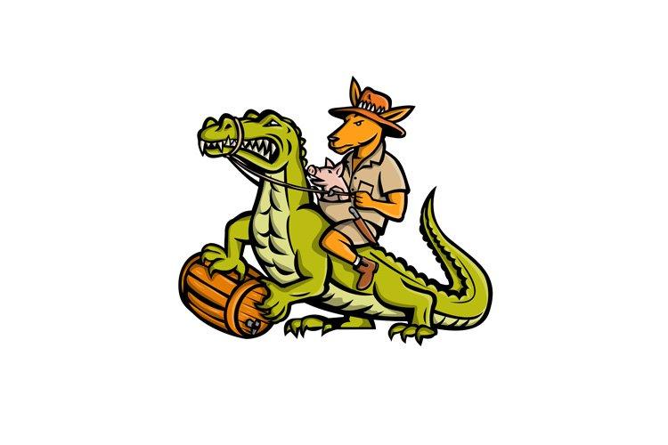 Kangaroo Riding Crocodile Mascot example image 1